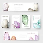 Watercolor Easter holiday cards, tags, banners set. Vector — Stock Vector