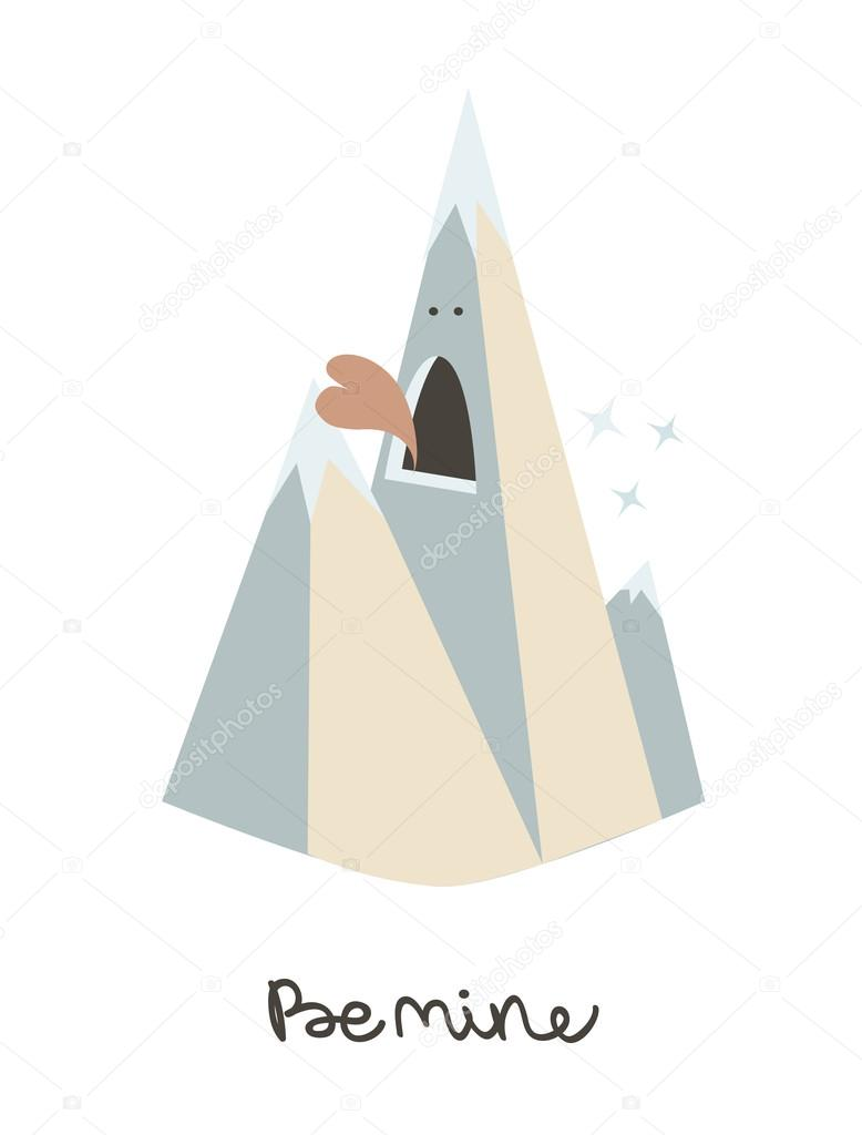 valentines day card template mountain be mine original valentines day card template mountain be mine original vector illustration holiday poster template creative party background