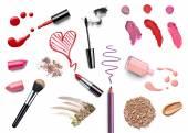 Göra upp skönhet läppstift nagellack flytande pulver mascara penna — Stockfoto