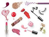 Make up beauty lipstick nail polish liquid powder mascara pencil — Stock Photo