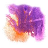 Art purple, orange watercolor ink paint blob watercolour splash — Stock Photo