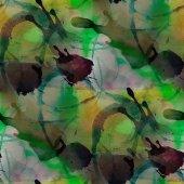 Contemporary green, cherry, yellow  avant-garde seamless wallpap — Stock Photo