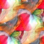 Art light background apple, green, red, worm texture watercolor — Stok fotoğraf
