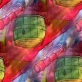 Art light background barrel, red, blue texture watercolor seamle — Stok fotoğraf