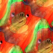 Art light cartoon, animal, green, red background texture waterco — Stok fotoğraf