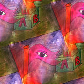 Art light eye, cube, letter background texture watercolor seamle — Stock Photo