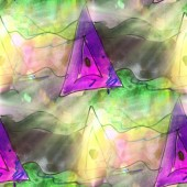 Art light triangle, green, violet background texture watercolor — Stok fotoğraf