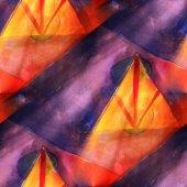 Art triangle, red, blue light background texture watercolor seam — Stok fotoğraf