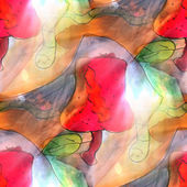 Art light background apple, green, red, worm texture watercolor — 图库照片