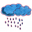 Watercolor drawing kids cartoon rain on white background — Stock Photo #61762489