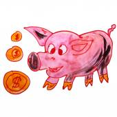 Watercolor drawing children cartoon piggy bank on a white back — Stock Photo