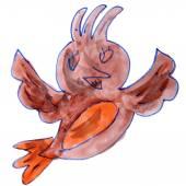 Watercolor drawing kids cartoon bird on white background — Stok fotoğraf