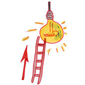Drawing children watercolor staircase, cartoon light bulb on a w — Stock Photo