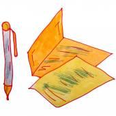 Bir çocuk suluboya kalem çizim, karikatür yaprak üzerinde beyaz backg — Stok fotoğraf