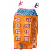 Drawing cartoon kids watercolor high-rise building on a white ba — Foto de Stock