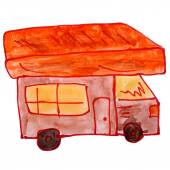 Drawing cartoon kids watercolor motorhome on white background — Stock Photo