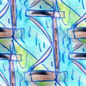 Mural seamless  pattern river, bridge background text — Stockfoto