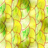 Mural green semi-circles on a yellow background backg — Zdjęcie stockowe