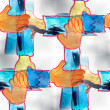 Mural  seamless hands pattern background  texture wa — Stock Photo #61922213