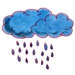 Watercolor drawing kids cartoon rain on white background — Stock Photo #62526799