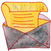 Watercolor drawing kids cartoon letter on white background — ストック写真