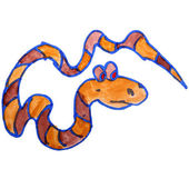 Watercolor drawing kids cartoon snake on white background — Stock Photo