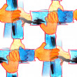 Mural background seamless hands pattern texture — Stock Photo #62535871