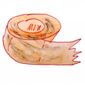 Drawing children watercolor paper, toilet cartoon on a white bac — Stock Photo