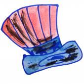 Drawing children watercolor vuvuzela cartoon on a white backgrou — Stock Photo