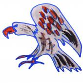 Watercolor drawing kids cartoon eagle on white background — Stock Photo