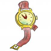Watercolor wristwatch red cartoon figure, isolated on white background — Stock fotografie