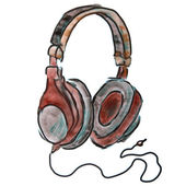 Watercolor headphones brown cartoon figure, isolated on white background — Stock Photo
