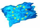 Flag watercolor eu european union europe blue euro background ye — Stock Photo