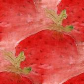 Blots red strawberries watercolor painting seamless background — Stock Photo