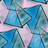 Blots blue triangles watercolor painting seamless background — Stock Photo
