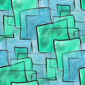 Blots watercolor green squares on a blue background painting sea — Stock Photo