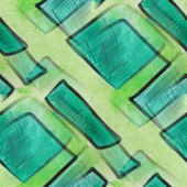 Blots watercolor green squares painting seamless background — Stock Photo
