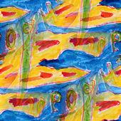 しみ青と黄水彩画シームレスな背景 — ストック写真