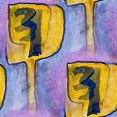 Blots yellow numbers watercolor painting seamless background — Stock Photo
