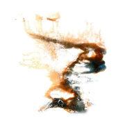 Blot divorce illustration Black, brown artist of handwork is iso — Stock Photo