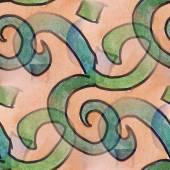 Ink green figures blot splatter background isolated on white han — Stock Photo