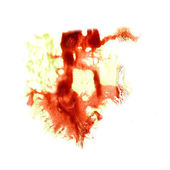 Stain with  watercolour red, green paint stroke watercolor isola — Stock Photo