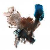 Abstract brown, blue watercolor hand painted background insult R — Stock Photo
