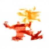 Stain with burgundy, yellow watercolour paint stroke watercolor — Foto Stock