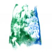 Stain with green, blue watercolour paint stroke watercolor isola — Foto de Stock