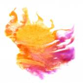 Stain with watercolour pink, yellow paint stroke watercolor isol — Stock Photo