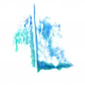 Stain with watercolour turquoise paint stroke watercolor isolate — Stock Photo