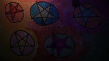 Video motion graffiti Star   of David symbol circle ornament night light moves along the wall abstract background  pattern hd 1920x1080 — Video Stock