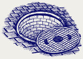 Opened street manhole — Stock Vector