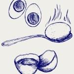 Boiled egg breakfast — Stock Vector #68988653